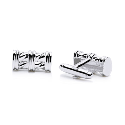 Classic Pillar Style Cufflinks in Sterling Silver