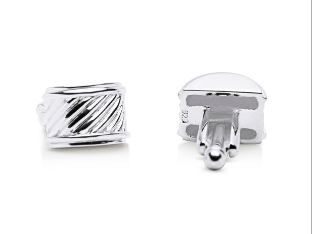Classic Ribbed Cufflinks in Sterling Silver | SilverAndGold