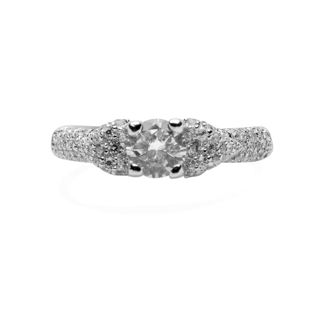 Round Cut Cubic Zirconia Sterling Silver Ring | SilverAndGold