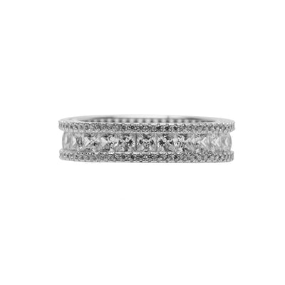 Sterling Silver Eternity Princess Cut Cubic Zirconia Ring