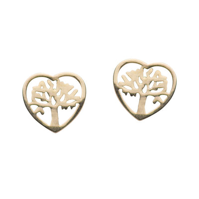 14K Yellow Gold Heart Tree of Life Stud Earrings | SilverAndGold