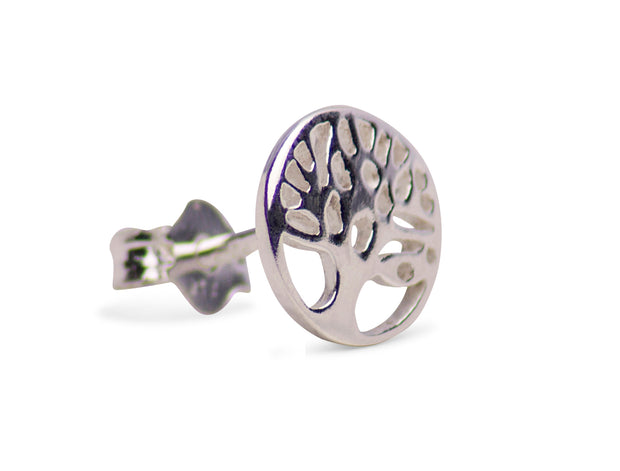 Sterling Silver Tree of Life Post Earrings Rhodium Plated