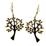 14K Yellow Gold Plated Sterling Silver Tree of Life Hook Earrings