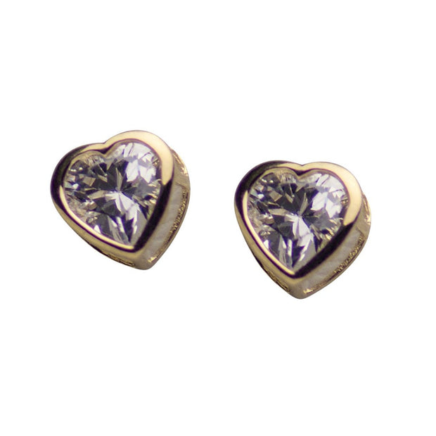 14K Yellow Gold 4 mm Heart Shaped Post Earrings with 0.5 Carat TW Clear Cubic Zirconia Stones