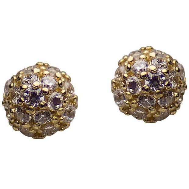 14K Yellow Gold Cubic Zirconia Half Ball Stud Earrings | SilverAndGold