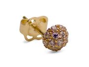 14K Yellow Gold Clear 30 Stone Cubic Zirconia Half Ball Stud Earrings