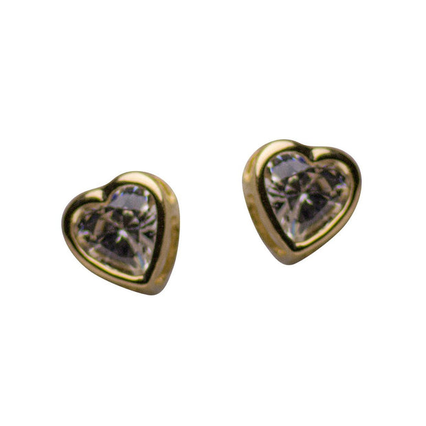 14K Yellow Gold 3mm Heart Shaped Post Earrings with 0.36TCW CZ Stones