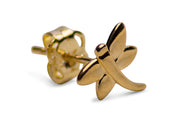 14K Yellow Gold Dragonfly Stud Earrings | SilverAndGold
