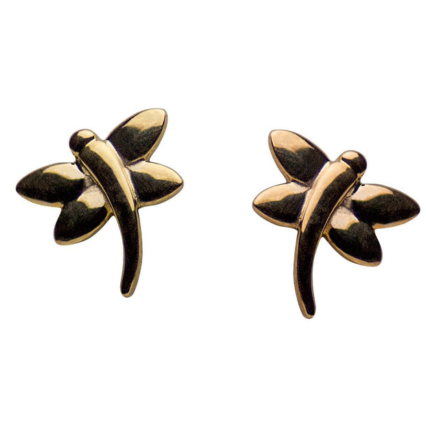 14K Yellow Gold Dragonfly Stud Earrings