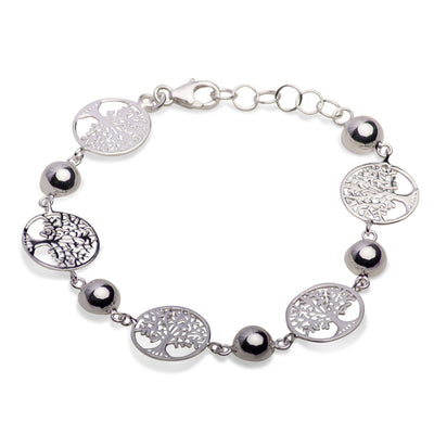"Distinctive Sterling Silver Tree of Life Bracelet 7"" With Extension"