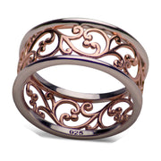 14K Rose Gold Over Sterling Silver Two Tone Vines Ring