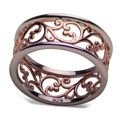 14K Rose Gold Plated Sterling Silver Two Tone Vines Ring