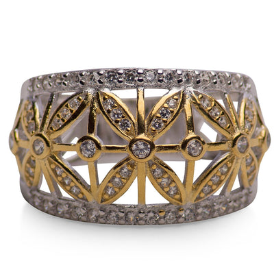 14K Yellow Gold Plated Sterling Silver Two Tone Flower Caged Ring with Cubic Zironia Stones