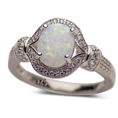 1.9 Carat Stunning Oval Lab Created White Opal Ring with CZ Sterling