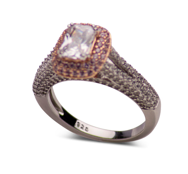 14K Rose Gold Plated Sterling Silver Two-Tone 1.06 Carat Emerald & Round Cut Clear & Pink Cubic Zirconia Ring