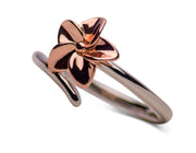 14K Rose Gold Over Sterling Silver Two-Tone Plumeria Flower Ring