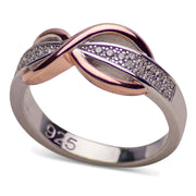 14K Rose Gold Plated Sterling Silver Two-Tone Pavé Infinity Ring