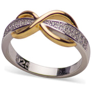 14K Yellow Gold Plated Sterling Silver Two-Tone Pavé Infinity Ring