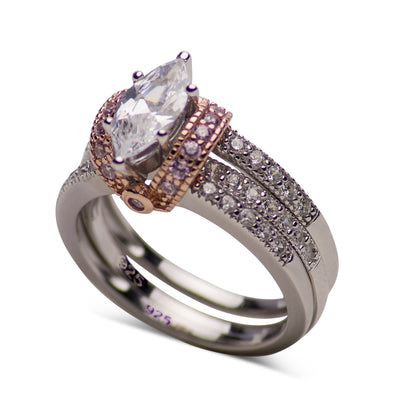 14K Rose Gold Over Silver Cubic Zirconia Wedding Set | SilverAndGold