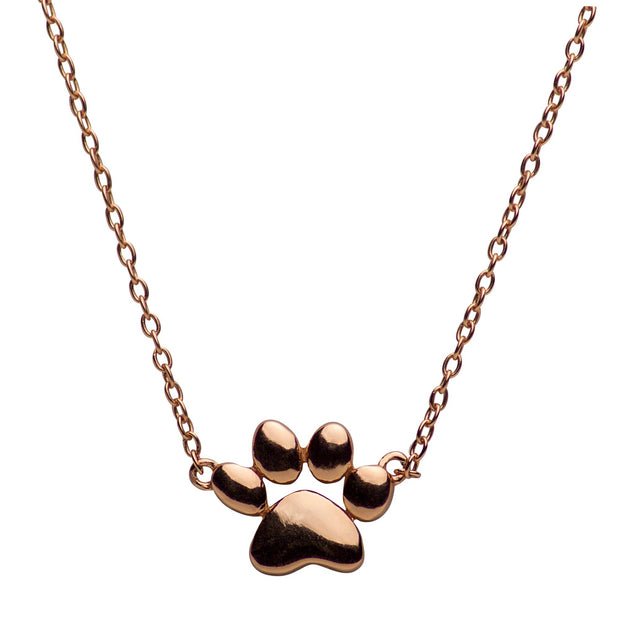 14K Rose Gold Over Sterling Silver Dog Paw Necklace