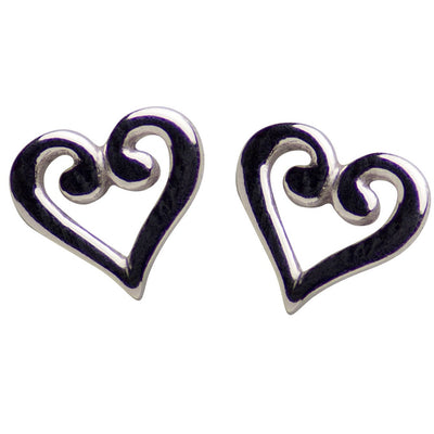 Sterling Silver Heart Stud Earrings | SilverAndGold