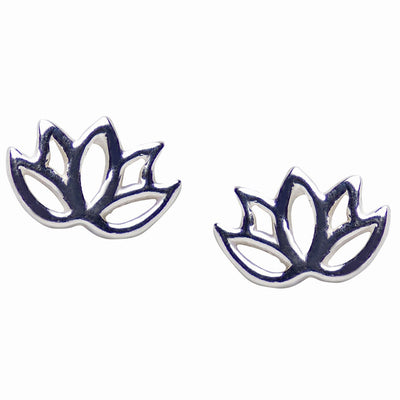 Small Sterling Silver Lotus Flower Stud Earrings