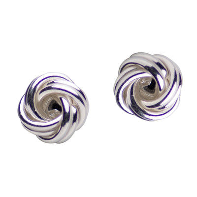 Sterling Silver Love Knot Post Earrings 6 mm Rhodium Plated