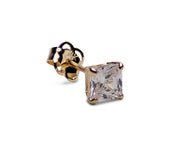 0.78 TCW Solid 14K Yellow Gold 4 mm Princess Cut Clear CZ Earrings