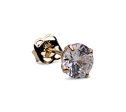 1.68 TCW Solid 14K Yellow Gold 6mm Round Cut Clear Cubic Zirconia Earrings