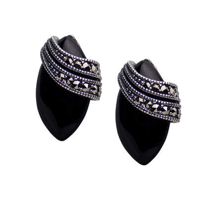 Sterling Silver Marquise Black Onyx and Marcasite Earrings