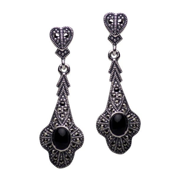 Marcasite & Onyx Sterling Silver Heart Earrings | SilverAndGold