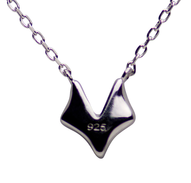Sterling Silver Rhodium Plated Fox Necklace