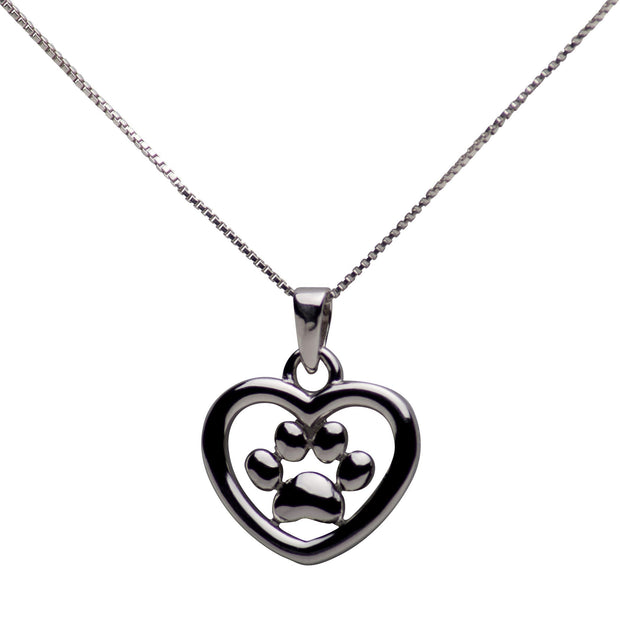 Sterling Silver Heart & Dog Paw Print Pendant Necklace