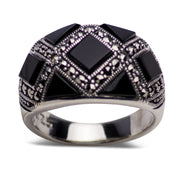 Sterling Silver, Black Onyx and Marcasite Pattern Ring
