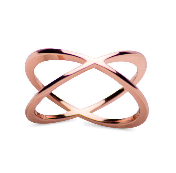 14K Rose Gold Over Forever Sterling Silver Crisscross Crossover Ring