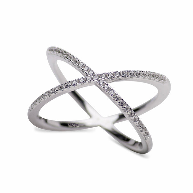 Forever Sterling Silver CZ Crisscross Crossover Ring