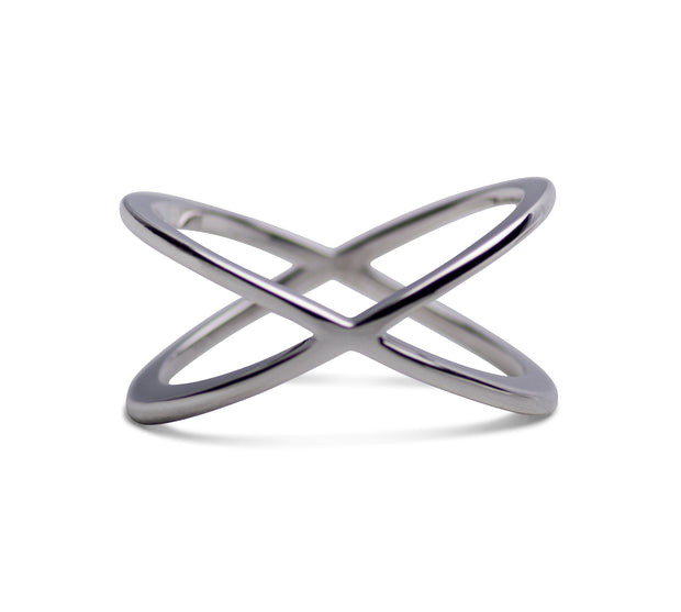 Rhodium Plated Forever Sterling Silver Crisscross Crossover Ring