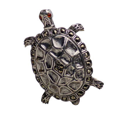 Marcasite & Sterling Silver Turtle Brooch Pin