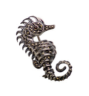 Marcasite & Sterling Silver Small Seahorse Brooch Pin