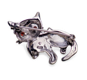 Marcasite & Sterling Silver Kitten Brooch Pin