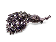 Marcasite & Sterling Silver Peacock Brooch Pin