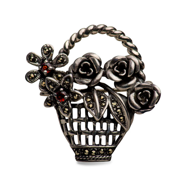 Marcasite & Sterling Silver Flower Basket Brooch Pin
