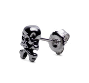 Sterling Silver Rhodium Jolly Roger Skull & Crossbones Stud Earrings
