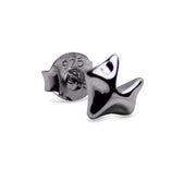 Sterling Silver Rhodium Plated Fox Stud Earrings