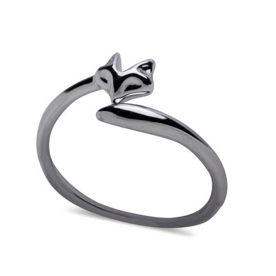 Sterling Silver Rhodium Plated Fox & Tail Ring