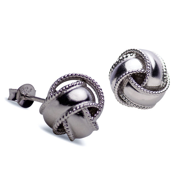 Sterling Silver Love Knot Earrings with Rope Edging Rhodium Plated