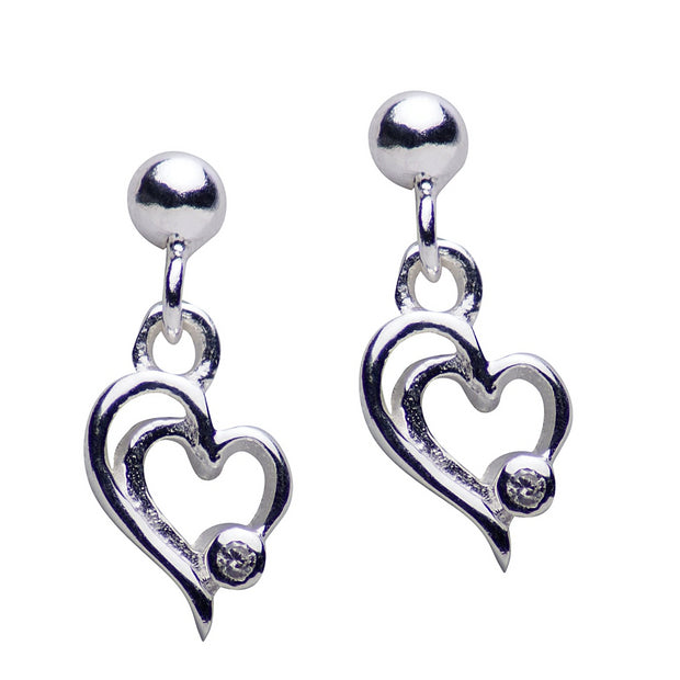 Sterling Silver Double Heart Dangle Earrings with CZ Accent
