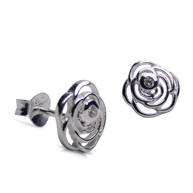 Sterling Silver & Cubic Zirconia Rose Flower Stud Earrings