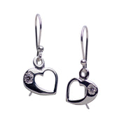 Cubic Zirconia & Sterling Silver Heart Dangle Earring | SilverAndGold