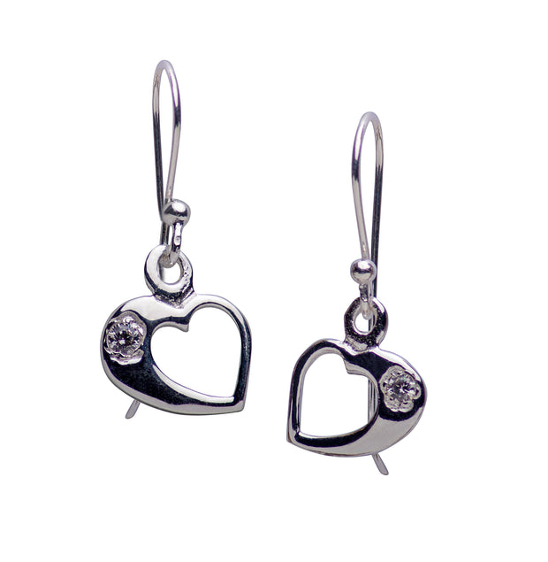 Cubic Zirconia & Sterling Silver Heart Dangle Earring Fishhook Backing